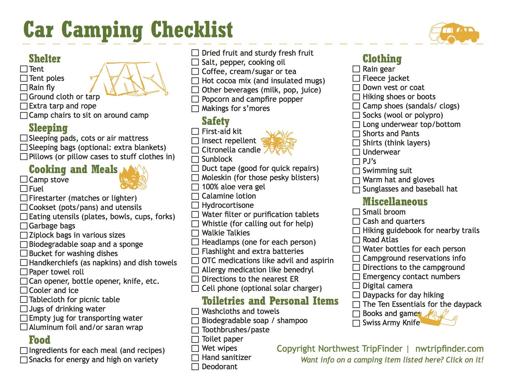 Back to Nature - Camping in Wisconsin, Camping basics ...