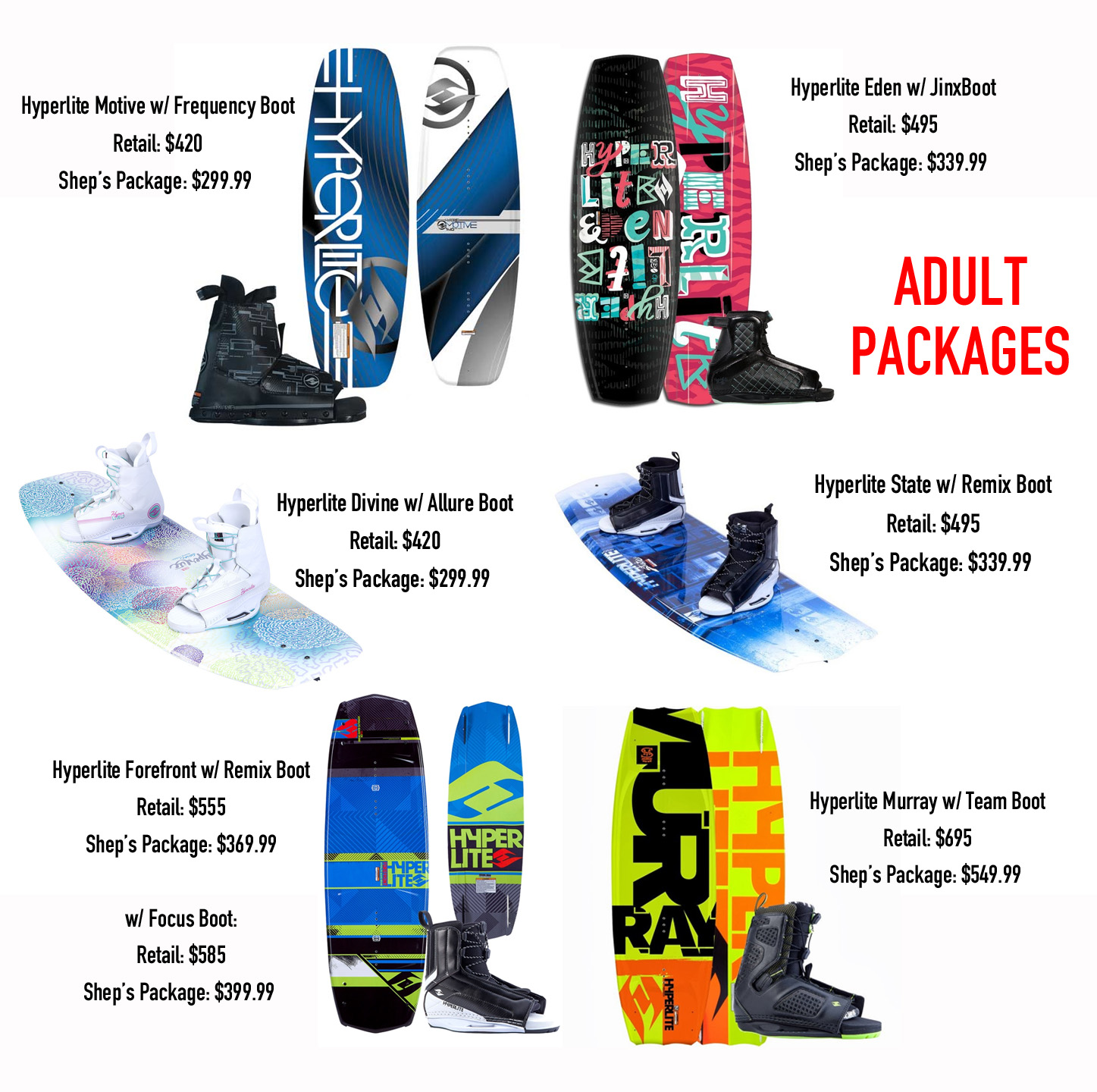 Adult Wakeboard Packages