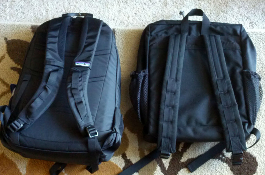 A Patagonia pack versus a lesser quality bag.  Notice the lack of padding and anatomical straps.   Photo: Michael W